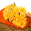 Enchant your loved one with these blushing yellow roses complimented with red tips. These blooms are farm fresh and naturally grown. They come by the bunch without fillers with each stem having its own water tube, enough to last for transport. Wrapped in delicate and beautiful orange glassin paper.