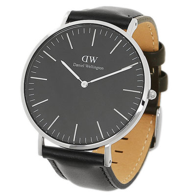 1aa2f5b0f Filgifts.com: Daniel Wellington Classic Black Sheffield 40MM - Men Silver  with Black Leather Strap (DW00100133) by Daniel Wellington - Send  timepieces gifts