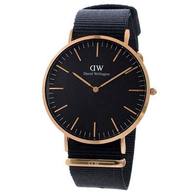 Filgifts.com: Daniel Wellington Classic Black Cornwall 40MM - Men Rose Gold with Black NATO Strap (DW00100148) by Daniel Wellington - Send timepieces gifts