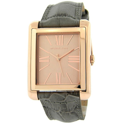 b0e77e565f6f Filgifts.com  Rose Gold Square Grey Croc Leather Strap Oversized for Women  (MK2241) by Michael Kors - Send timepieces gifts